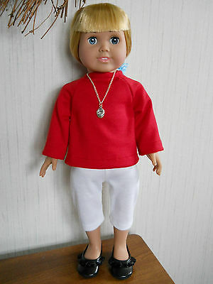 "Doll Clothes fits 18"" American Girl White Knit Capri Crop Pants"