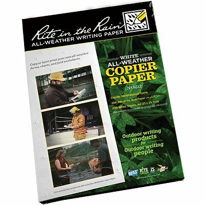 20 x Sheets *NEW* Rite in the Rain (RITR) All-Weather Laser / Copier A4 Sheets!