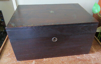 ANTIQUE DOCUMENT BOX with INSET STAR ON LID