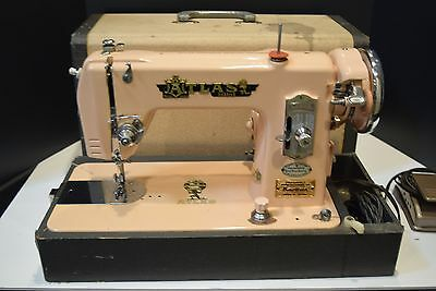 Vintage 1950's Atlas Pink Deluxe Sewing Machine - Complete and EX - Works Great