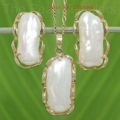 Genuine 8x18mm Biwa White Pearl Earring & Pendant Set; 14k Solid Yellow Gold