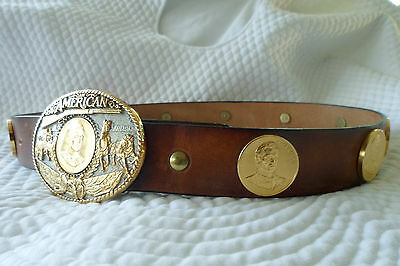 RAINY MOUNTAIN JOHN WAYNE New AMERICAN 24K GOLD/SILVER PLATED LEATHER COIN BELT
