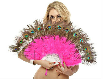 hot pink Beautiful peacock  marabou feather fan belly dance wedding party