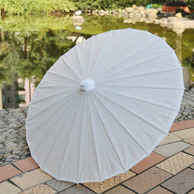 """A white paper parasol / umbrella with ribbon adult size 33"""" wedding favor"""