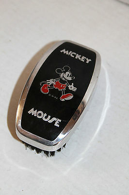 RARE MICKEY MOUSE Hairbrush c 1935- Brushed aluminum trim! EX Cond Brush