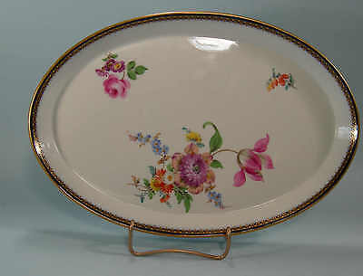 Lovely Meissen Tray Cobalt and Gold Border Lavish HP Flowers First Quality