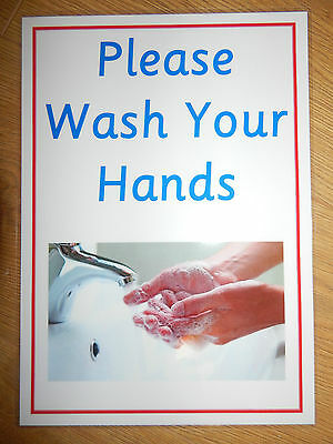 PLEASE WASH YOUR HANDS - A4 Laminated poster - EYFS/NURSERY/CHILDMINDERS/SCHOOLS
