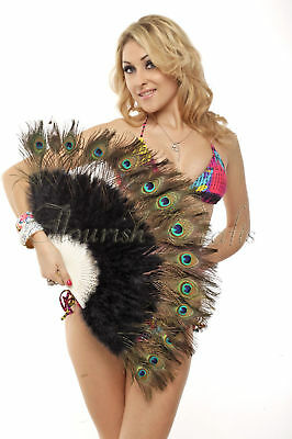colourful peacock marabou feather fan black color belly dance woman favor