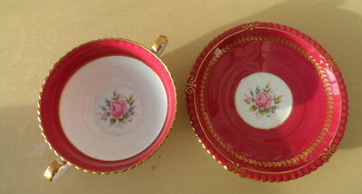 AYNSLEY CABINET TWO HANDLED CUP WITH SAUCER