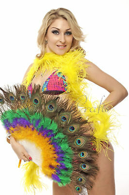 Colourful peacock eye marabou feather fan  mix color belly dance woman favor