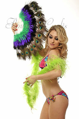 Colourful peacock eye marabou feather fan special G-P-B mix color belly dance