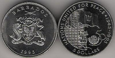Barbados 5 Dollars 1995 United Nations 50 years Peace Crown KM 62 UNC