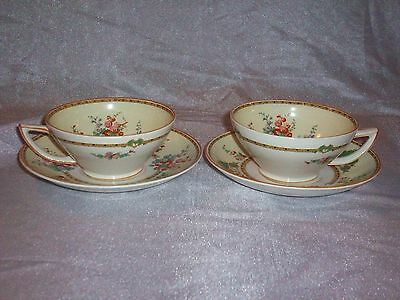 PAIR SET 2 ANTIQUE MYOTT THE HOLLYHOCK CUPS & SAUCERS ENGLAND MINT CONDITION