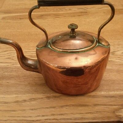 Antique copper kettle, approx 200mm high by 230mm long