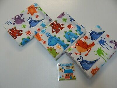 Hungry Little Monsters Burp Cloths - Set of Three - Flannelette - Toweling Back