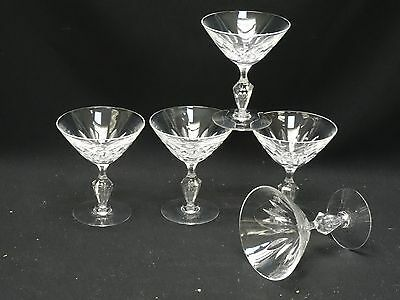 SET of 5 VINTAGE TIFFIN CRYSTAL CHAMPAGNE GLASS with TEARDROP BUBBLE STEM