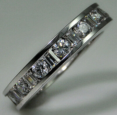 4 ct tw Eternity Ring Simulant Imitation Moissanite Size 8 Sterling Silver