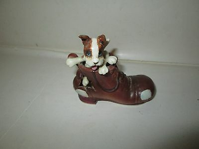 CUTE DOG PLAYING IN RAGGY SHOE CERAMIC PORCELAIN SOUVENIR EXCELSIOR SPRINGS MO