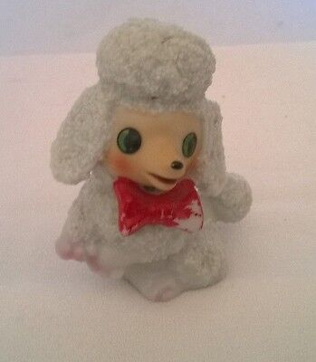 WHITE POODLE FIGURINE WITH RED BOW TIE VERY CUTE SMILING AND ROSY CHEEKS