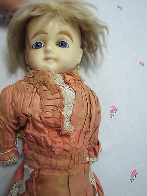 """Large Antique Wax Doll with Glass Eyes and Straw Body ~25"""" tall"""