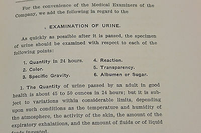 Vintage 1902 'instructions To The Medical Examiners Of The New York Life' Book!