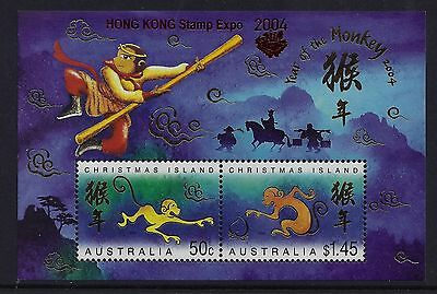 2004 Christmas Island Year Of The Monkey Ms Hong Kong Overprint Fine Mint Mnh