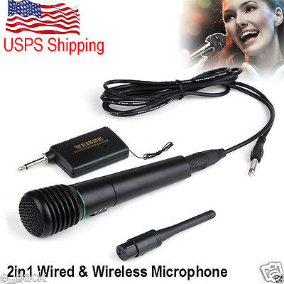 Wired Wireless 2in1 Handheld Microphone Mic Receiver System Undirectional fad