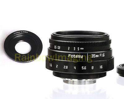 35MM HD APSC F1.6 TV Lens + Adapter for Sony E-Mount a6000 a5000 a3500 a3000