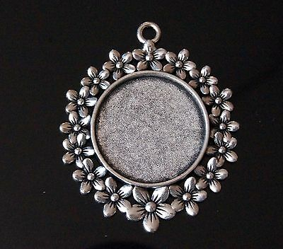 Bronze Silver Round Flower Daisy Cabochon Cameo Settings Charm 49x41mm Fit 25mm
