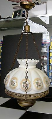 Vintage Dome Floral Shade Hanging Chandelier Lamp Electric Brass/brass Finished