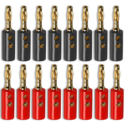 Banana Plug Gold Plated Stackable 4mm Speaker Connector Black Red x 8 Pairs