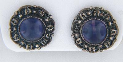 Antique Chinese Ornate Silver Cabochon Amethyst Earrings