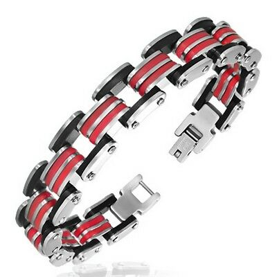 Red Black Silver Two Tone Stainless Steel Link Mens Bracelet