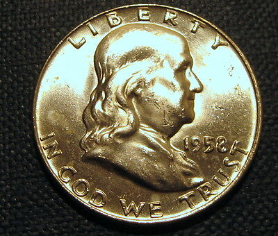 CHOICE BU 1958-D FRANKLIN SILVER HALF DOLLAR.