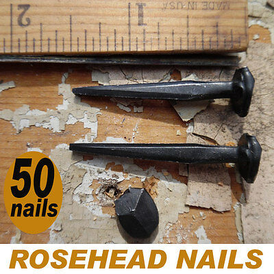 """1.5""""- ROSE HEAD NAILS ~ Wrought Iron square rose head nails ~ (50) Antique nails"""