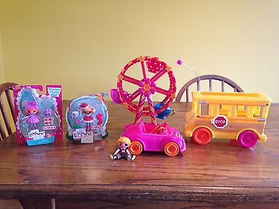 Lalaloopsy Mini Schoolbus, RC Car, Ferris Wheel, Patch Mini and 2 New Minis