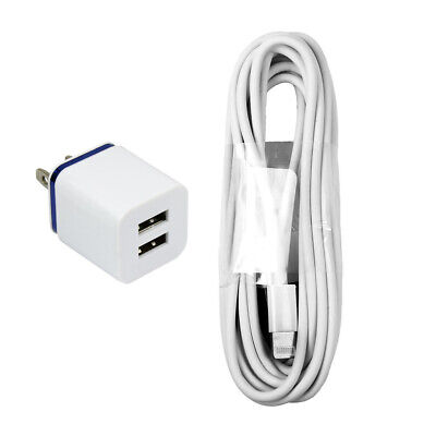 10 ft Long 8-pin Cord with 10W Fast Dual Port Wall Charger iPhone 8 7 6 6s 5
