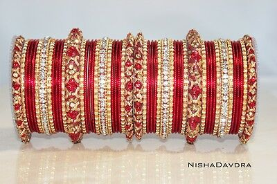 50 piece set Indian Bangles Red churra many sizes