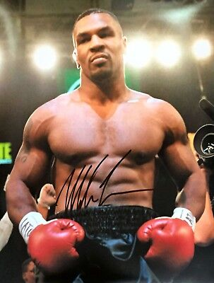 WORLD CHAMPION IRON MIKE TYSON SIGNED 16x20 BOXING PHOTOGRAPH WITH COA & PROOF