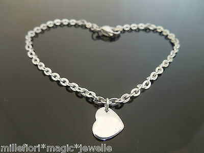 """3mm Stainless Steel Bracelet Or Ankle Chain Anklet Heart Charm 7"""" 8"""" 9"""" 10"""" 11"""""""