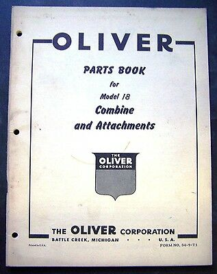 Oliver Model 18 Combine and Attachments Parts Book Manual