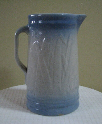 "Antique Country Blue Gray-White Pitcher - 9"" high"