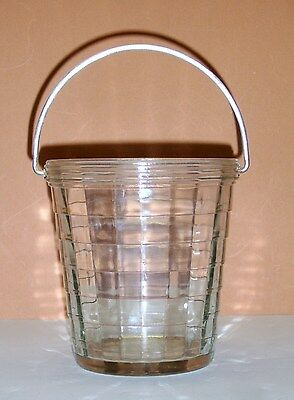 Antique Anchor Hocking Block Optic Crystal Ice Bucket with Handle  NICE!
