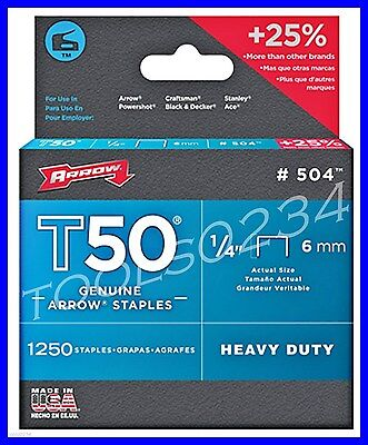 "Genuine Arrow Staples T50  1/4"" 1,250 Box #504  MADE IN USA Free Ship"