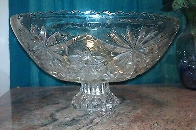 Gorgeous AMERICAN BRILLIANT CRYSTAL PUNCH BOWL WITH BASE AND MATCHING BOWL