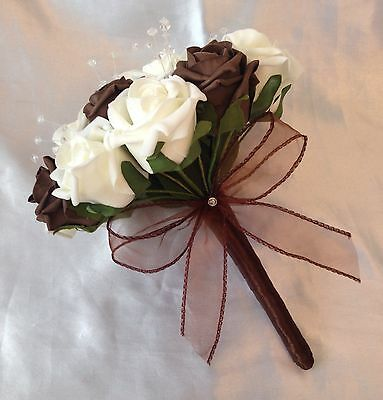 Artificial Wedding Flowers Chocolate Brown Ivory Bridesmaid Wedding Bouquet