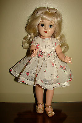 "Vintage Platinum Ideal P-90 14"" Toni Doll in Organdie Dress &  Snap Shoes P90"
