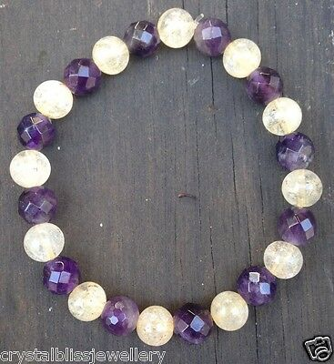 ॐCrystal Blissॐ Bracelet for Abundance & Wealth - Citrine and Amethyst Yoga