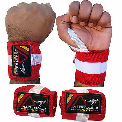 Austodex Weight Lifting Gym Wrist Support Bar Straps Wraps Gloves Bodybuilding