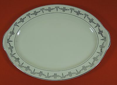 TAYLOR SMITH & TAYLOR LG OVAL SERVING PLATTER W PLATINUM FLORAL SWAG TS&T # 1825